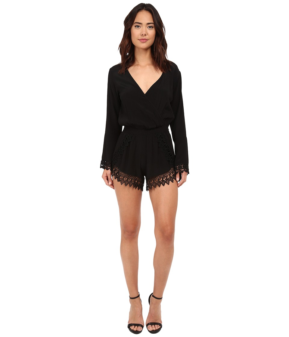 Lucy Love - Long Sleeve Lacy Romper in Black (Black) Women's Jumpsuit & Rompers One Piece