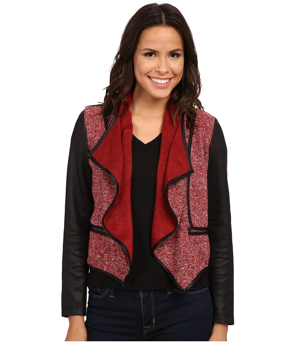 KUT from the Kloth - Jameson Front Drape Jacket (Marsala/Black/White) Women