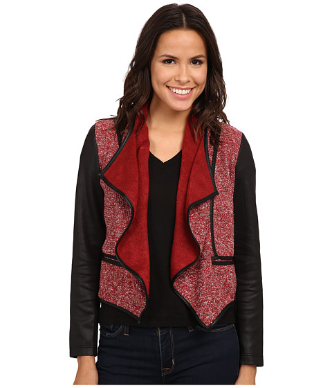KUT from the Kloth - Jameson Front Drape Jacket (Marsala/Black/White) Women's Coat