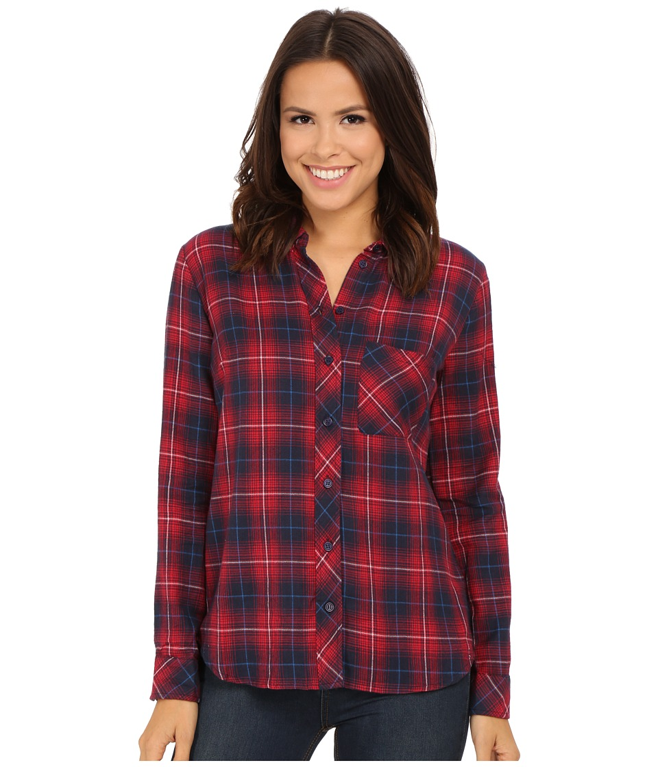 KUT from the Kloth - Collin One-Pocket Plaid Blouse (Navy/Red) Women's Long Sleeve Button Up