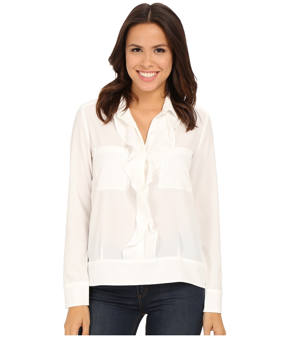 KUT from the Kloth - Adriana Ruffle Front Button Down (Ivory) Women