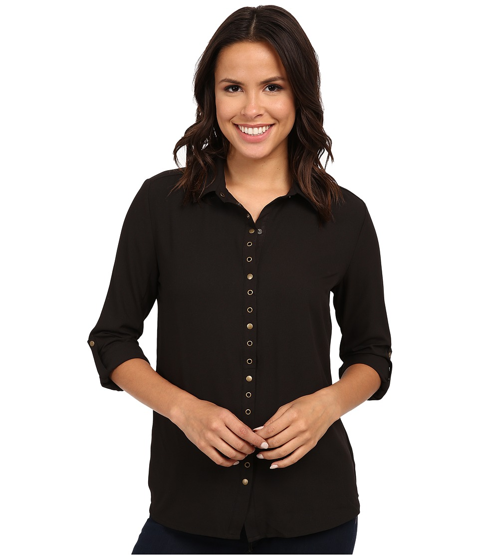 KUT from the Kloth - Lexi Collar Blouse w/ Snaps Eyelet (Black) Women's Long Sleeve Button Up