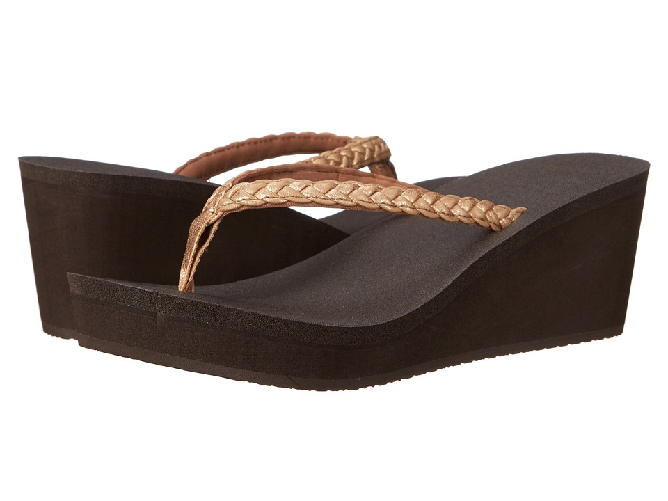 Sanuk - Yoga Braided Wedge Metallic (Rose Gold) Women's Sandals
