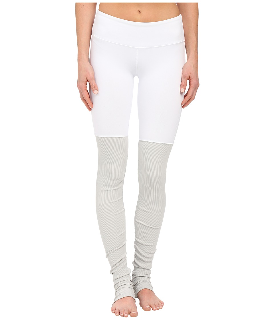 ALO - Goddess Ribbed Legging (White/Vapor Grey) Women's Workout