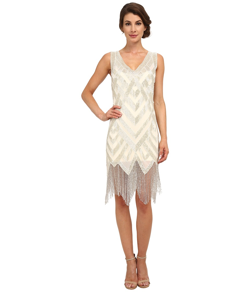 Unique Vintage - Forster Beaded Flapper Dress (Ivory/Silver) Women's Dress