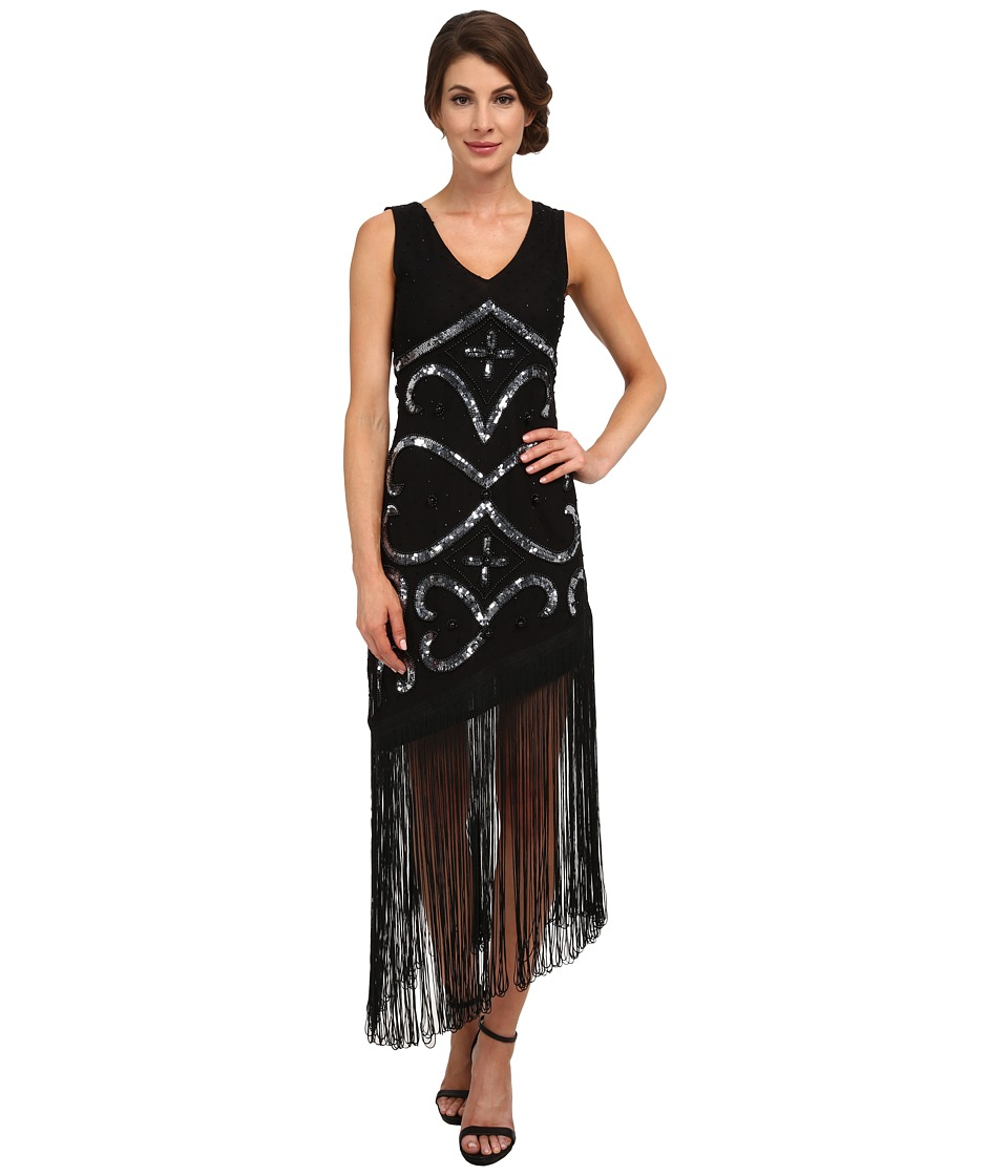 Unique Vintage - Tennessee Asymmetrical Fringe Dress (Black) Women's Dress