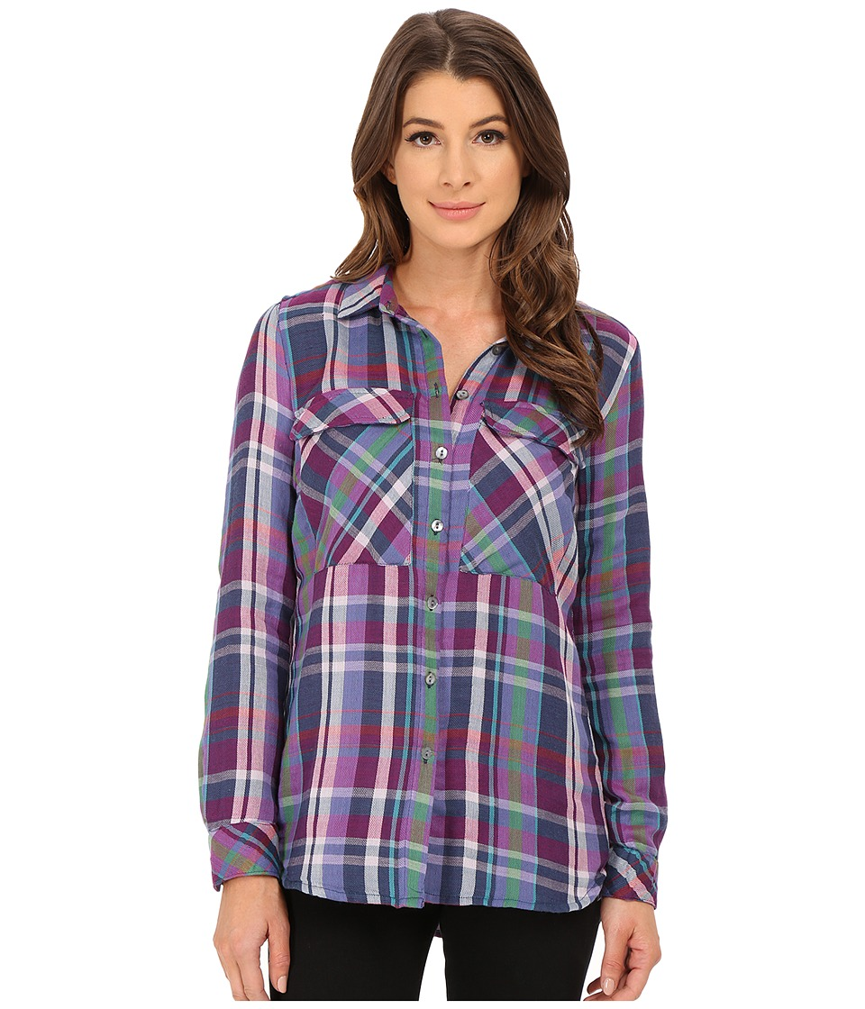KUT from the Kloth - Nora Cargo Pocket Plaid Blouse (Eggplant) Women's Long Sleeve Pullover