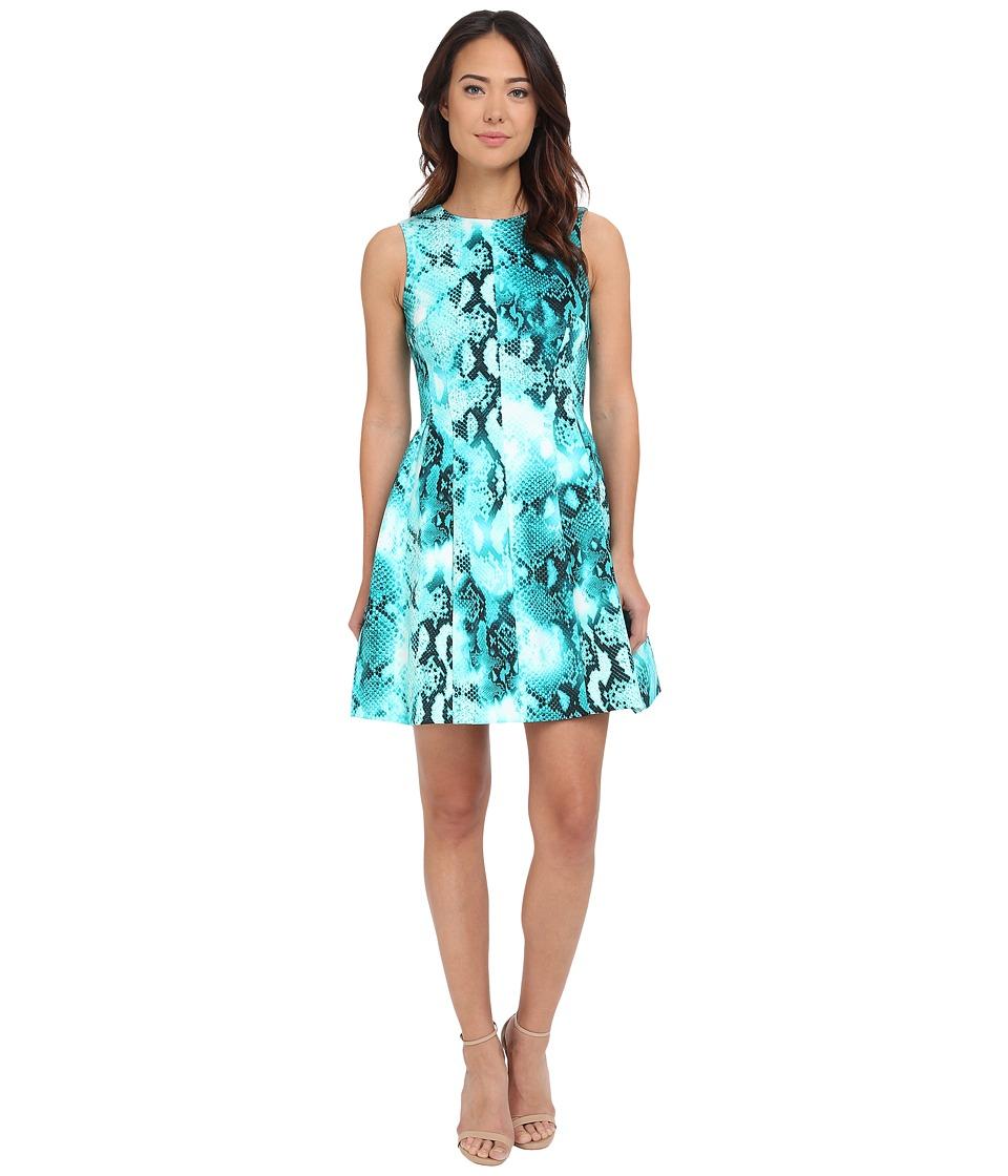 Calvin Klein Printed Scuba Fit Flare Dress CD5M6R8Y (Lagoon Multi) Women