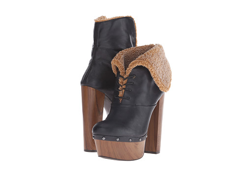 Jessica Simpson - Daane (Black Barillos/Faux Shearling/Oak Wood Heel) Women