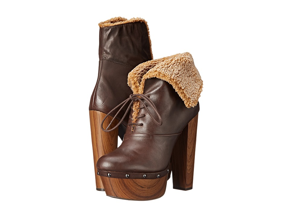 Jessica Simpson - Daane (Hot Chocolate/Natural Barillos/Faux Shearling/Oak Wood Heel) Women