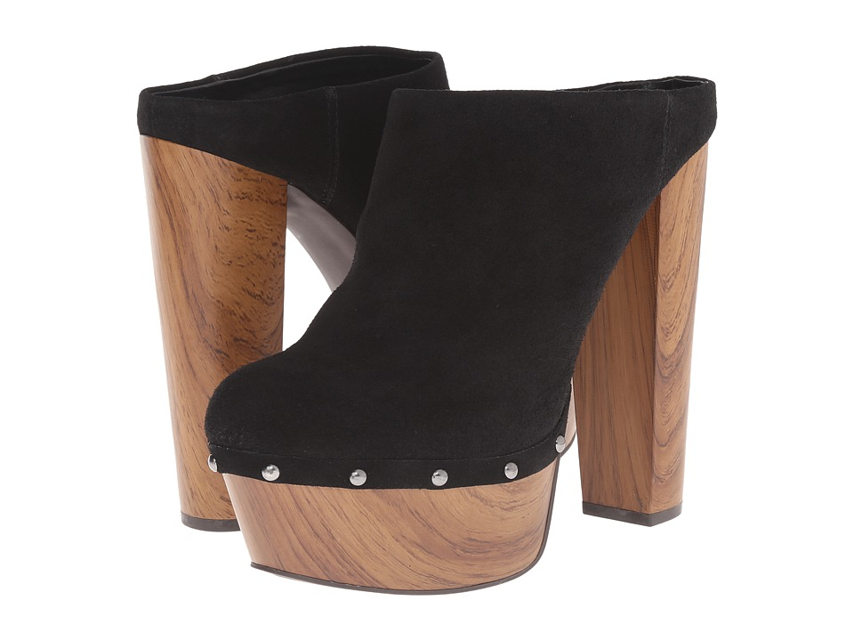 Jessica Simpson - Denley (Black Split Suede/Oak Wood Heel) High Heels