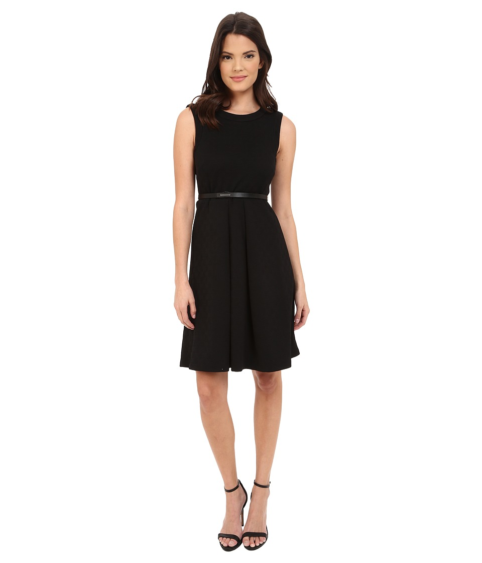 Calvin Klein - Texture Ponte Fit Flare Dress CD5P1P3N (Black) Women's Dress