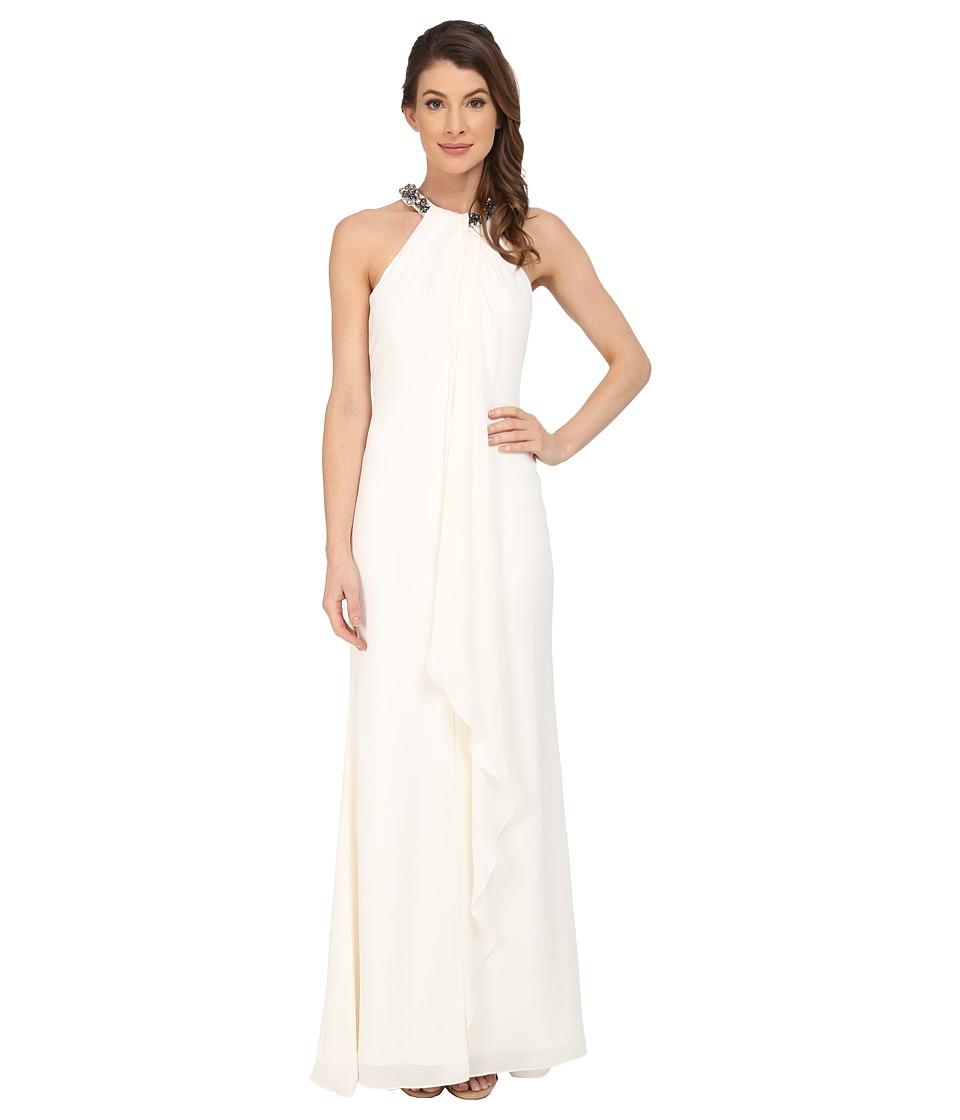 Calvin Klein - Halter Neck Draped Gown CD5B1P8W (Cream) Women's Dress
