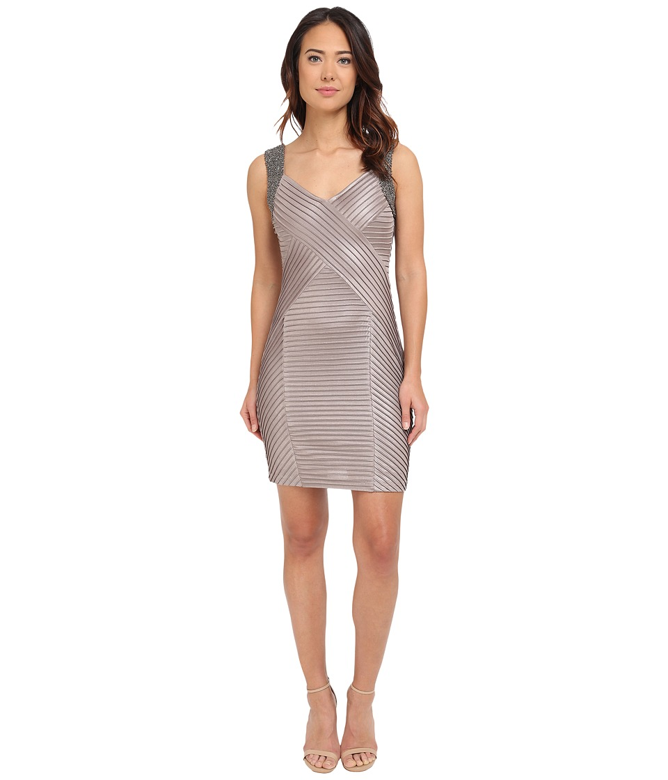 Calvin Klein Beaded Shoulder Pin Tuck Sheath Dress