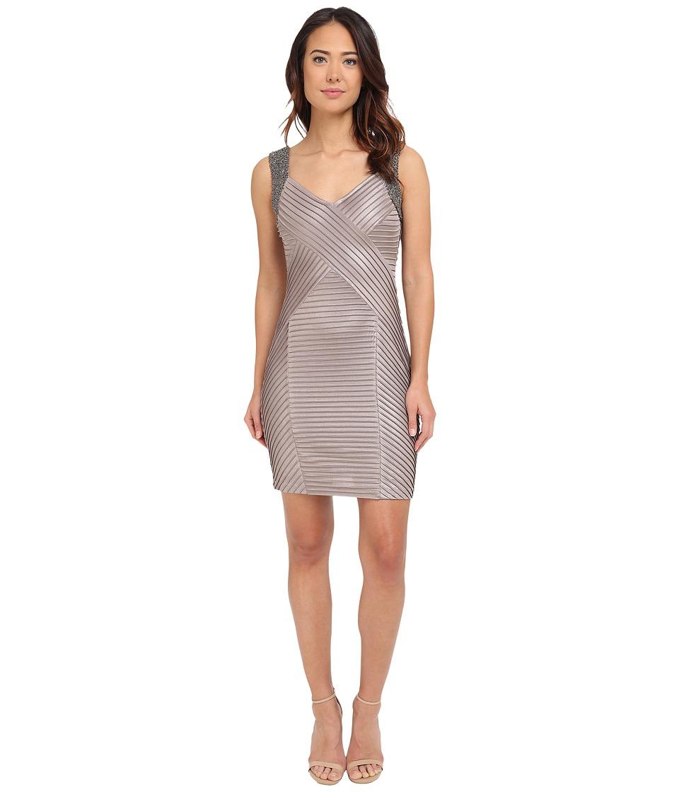 Calvin Klein Beaded Shoulder Pin Tuck Sheath Dress CD5B2A52 (Khaki) Women