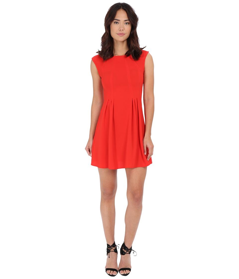 Gabriella Rocha Crepe Cap Sleeve Fit Flare Dress (Tomato) Women