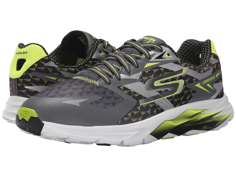 SKECHERS - Go Run Ride 5 (Charcoal Lime) Men's Running Shoes