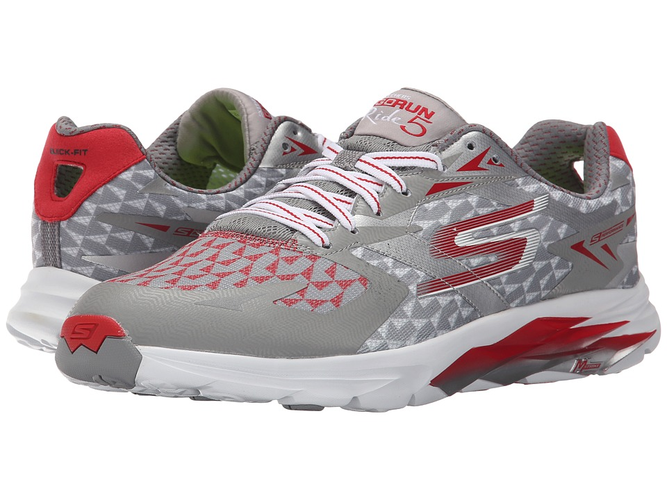 SKECHERS - Go Run Ride 5 (Grey/Red) Men's Running Shoes
