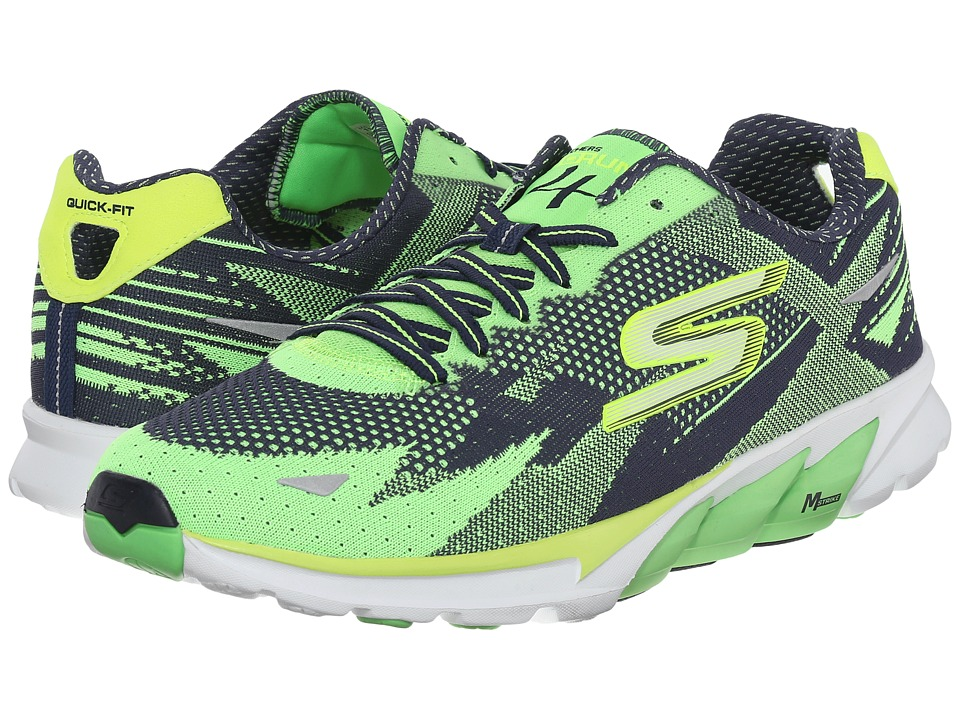 SKECHERS - Go Run 4 - 2016 (Green/Navy) Men's Running Shoes