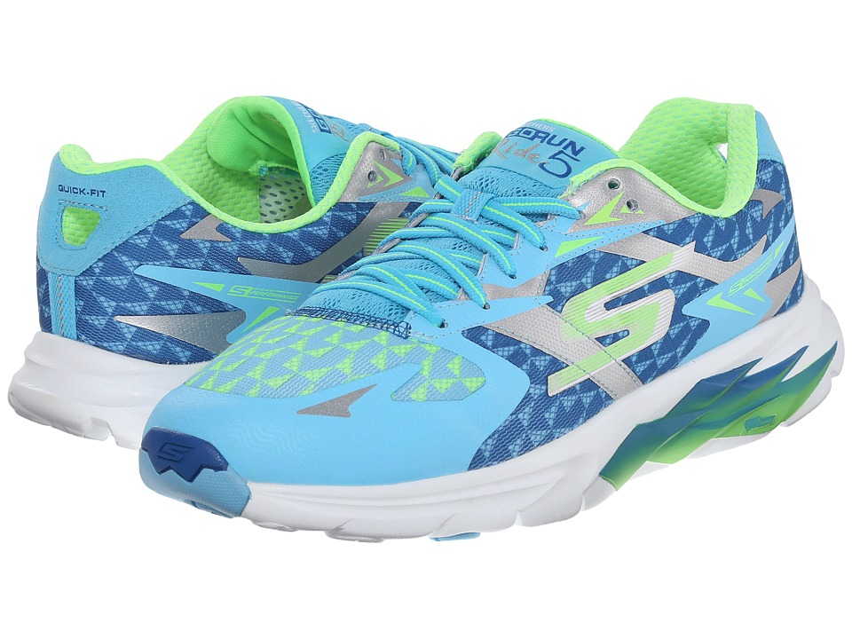 SKECHERS - Go Run Ride 5 (Blue/Lime) Women's Running Shoes