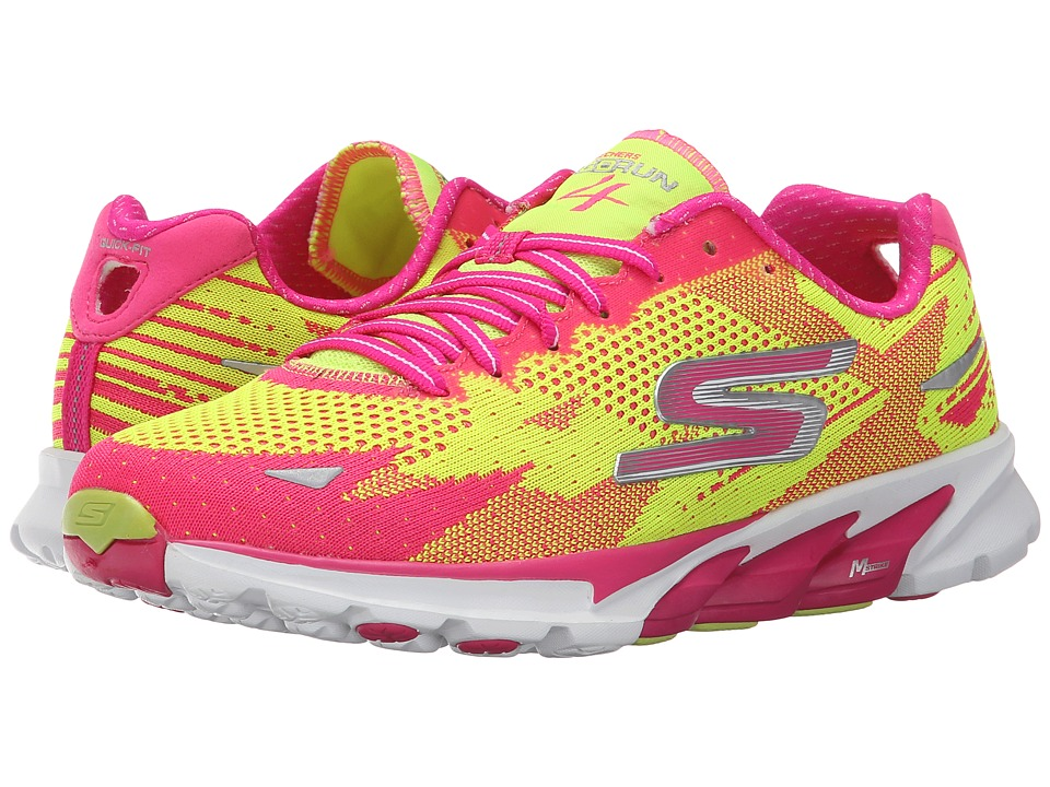 SKECHERS - Go Run 4 - 2016 (Lime/Hot Pink) Women's Running Shoes