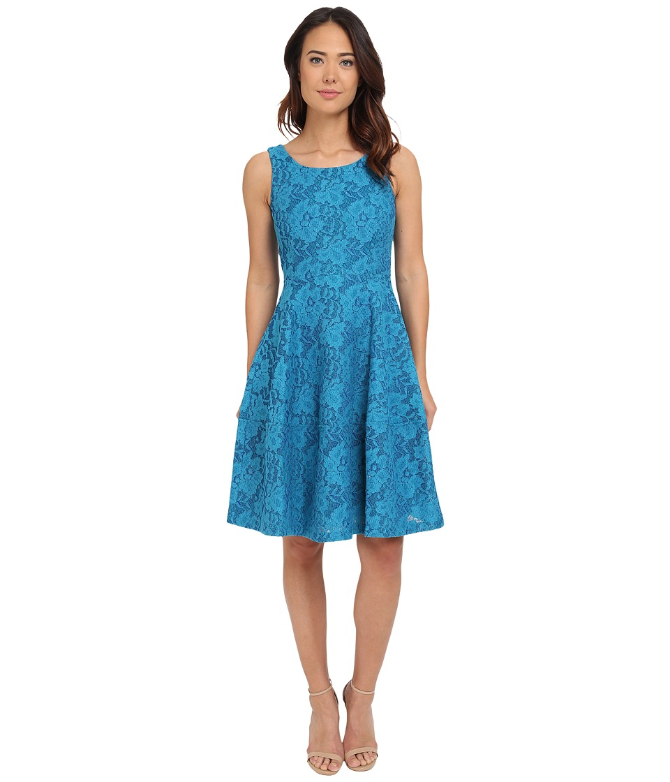 Calvin Klein - Lace Fit Flare Dress CD5M1R1V (Lagoon/Atlantis) Women's Dress