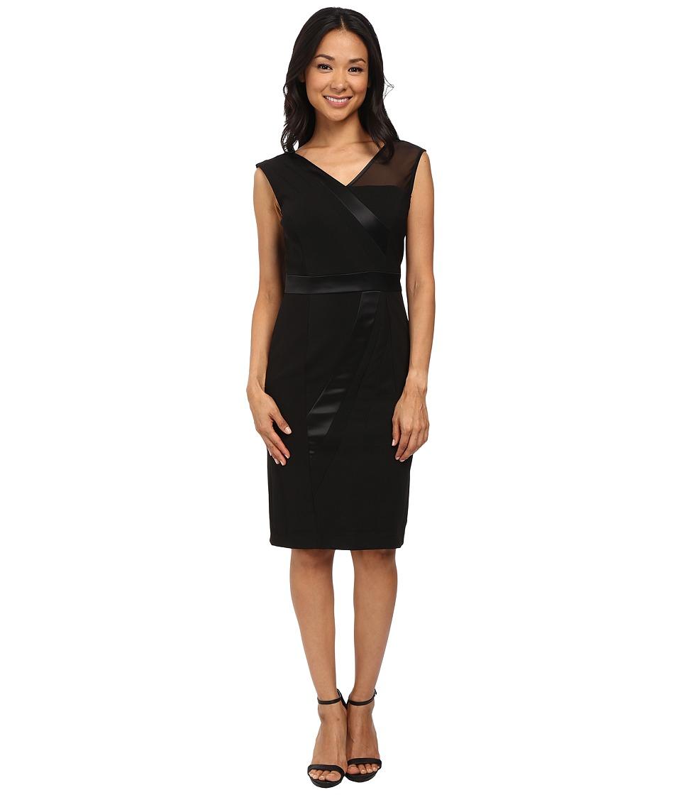 Adrianna Papell - V-Neck Sleeveless Dress (Black) Women's Dress