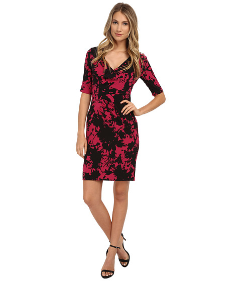 Adrianna Papell - Pleat Detail Wrap Dress (Sangria/Black) Women