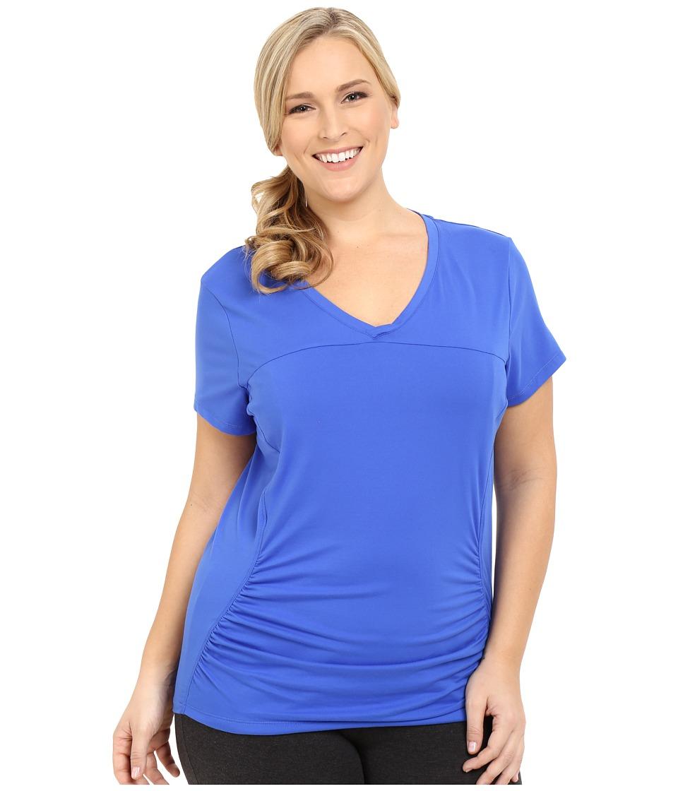 Marika Curves - Plus Size Elizabeth Slimming Tee (Blue Bolt) Women's Workout plus size,  plus size fashion plus size appare