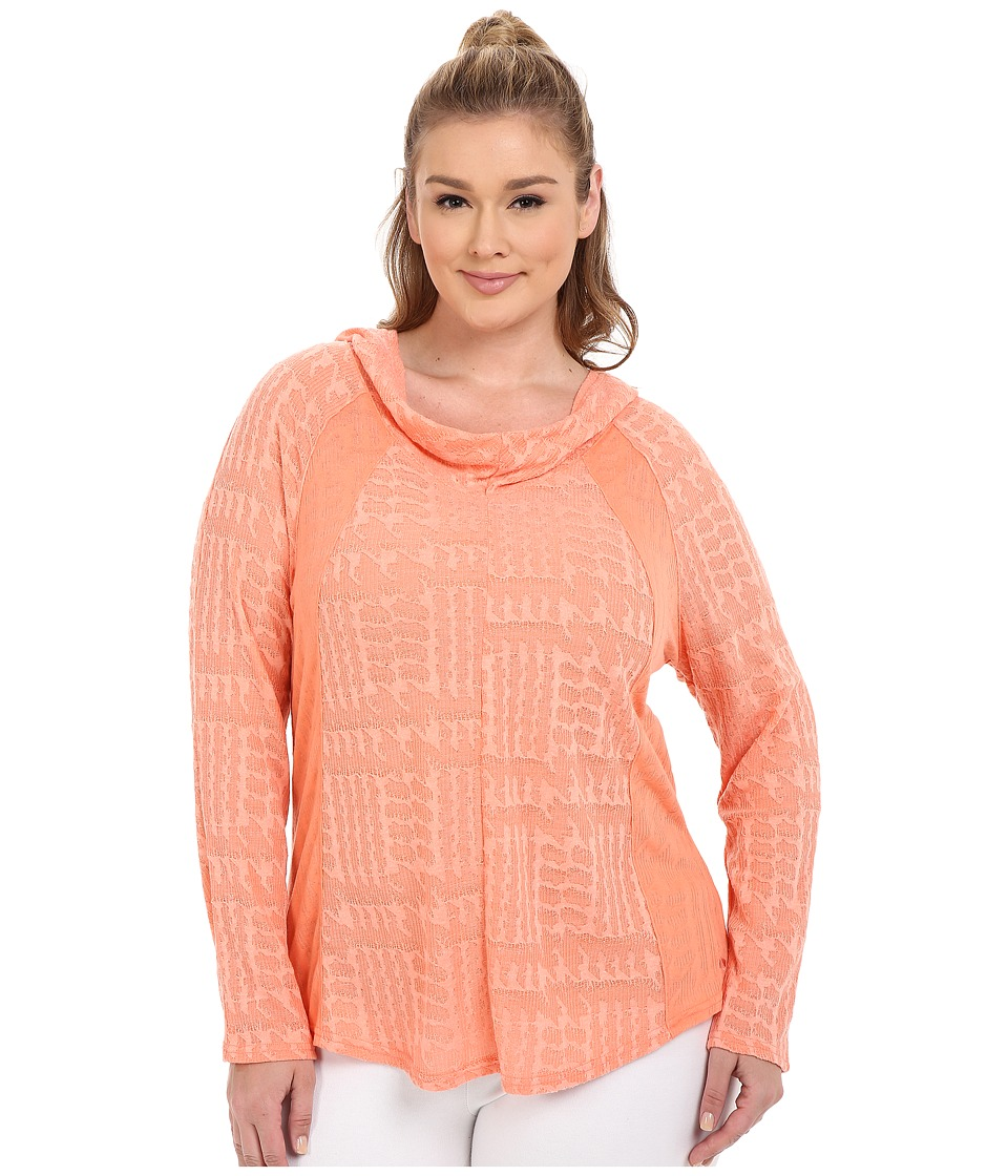 Marika Curves - Plus Size Arya Cowl Long Sleeve Hoodie (Heather Crisp Peach) Women's Sweatshirt