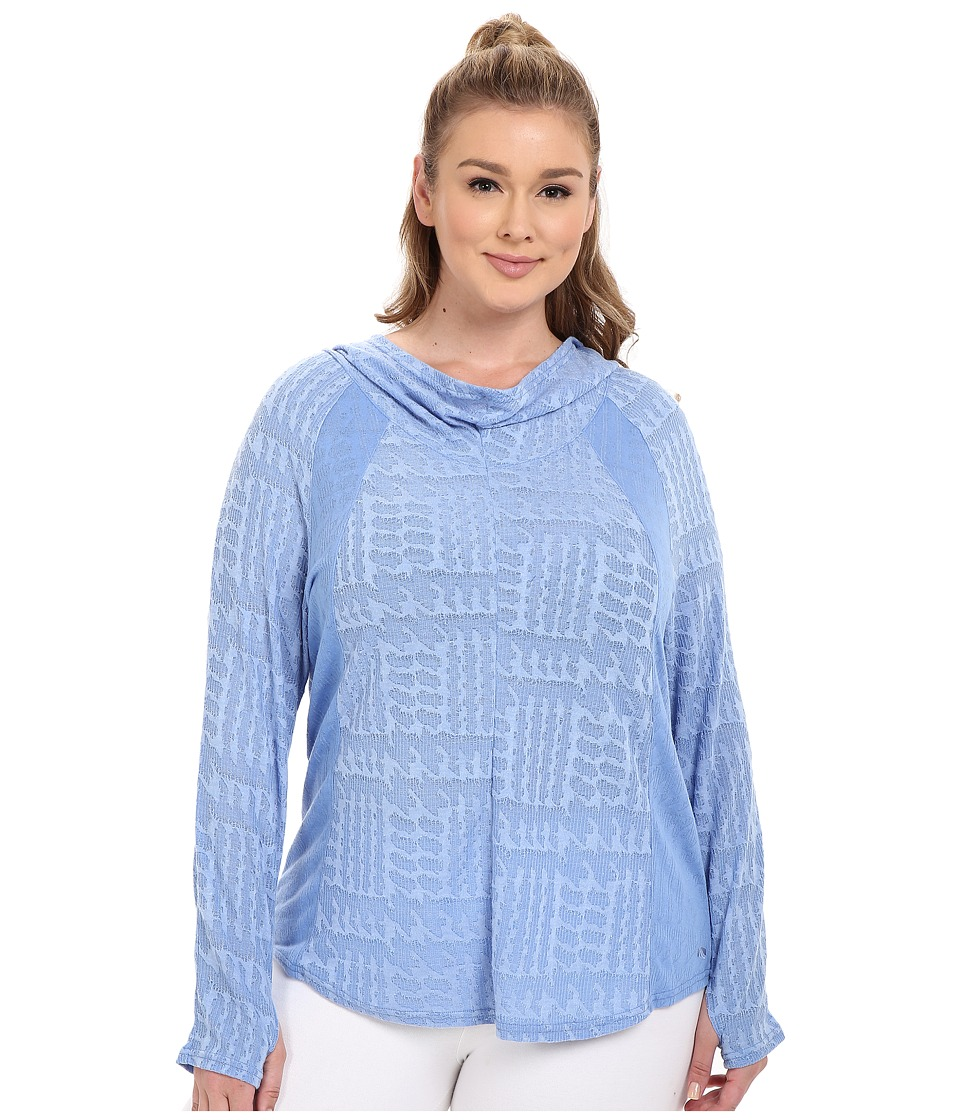 Marika Curves - Plus Size Arya Cowl Long Sleeve Hoodie (Heather Cornflower Blue) Women's Sweatshirt