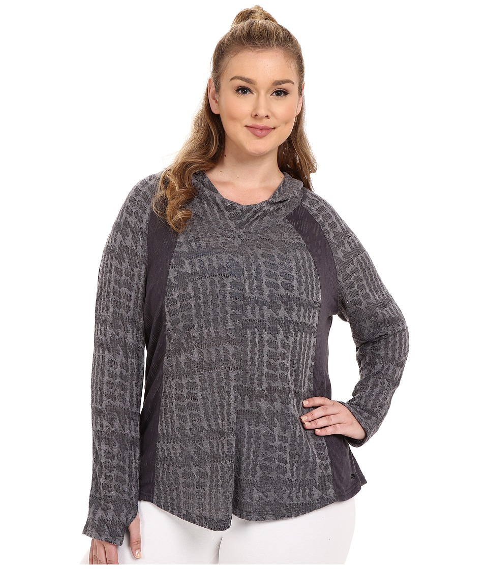 Marika Curves - Plus Size Arya Cowl Long Sleeve Hoodie (Heather Grey) Women's Sweatshirt