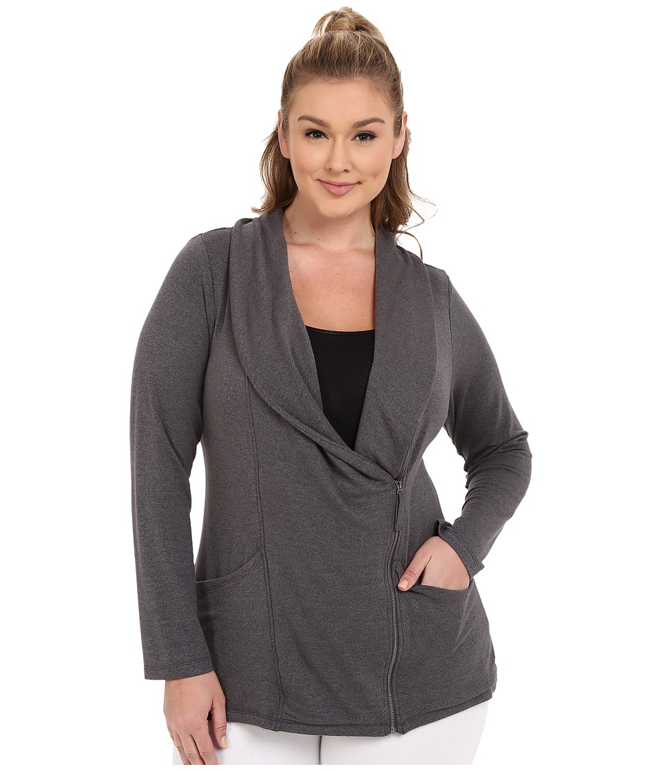 Marika Curves - Plus Size Vernon Cowl Jacket (Heather Charcoal) Women's Coat