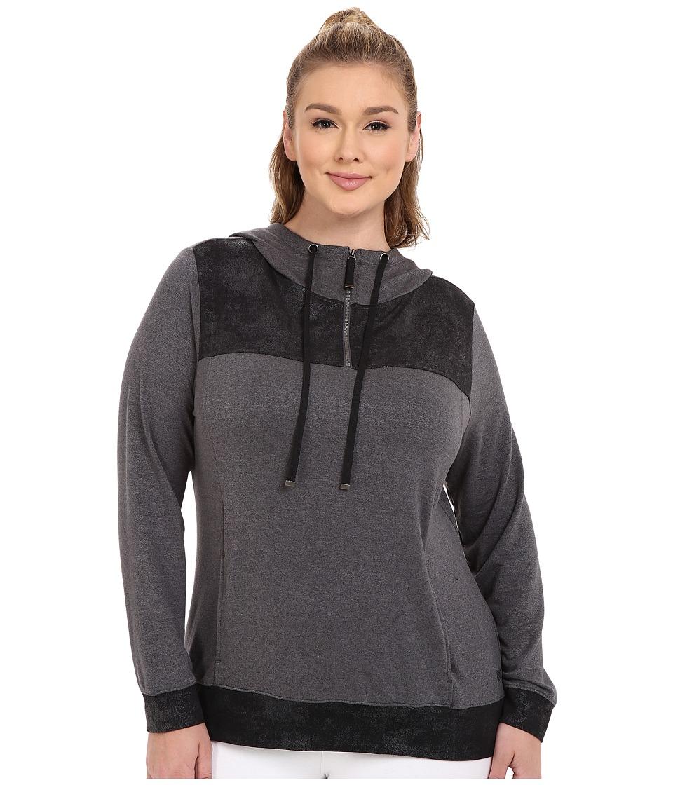Marika Curves - Plus Size Broadway Foil Hoodie (Heather Charcoal/Black) Women's Sweatshirt