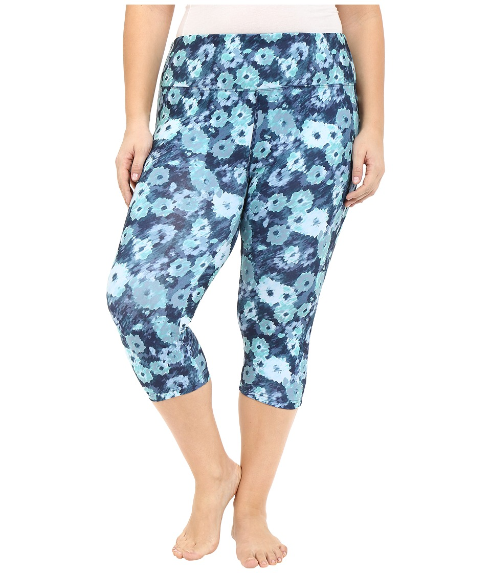 Marika Curves - Plus Size Printed Capri Leggings (Streaking Flower/Cockatoo) Women's Capri