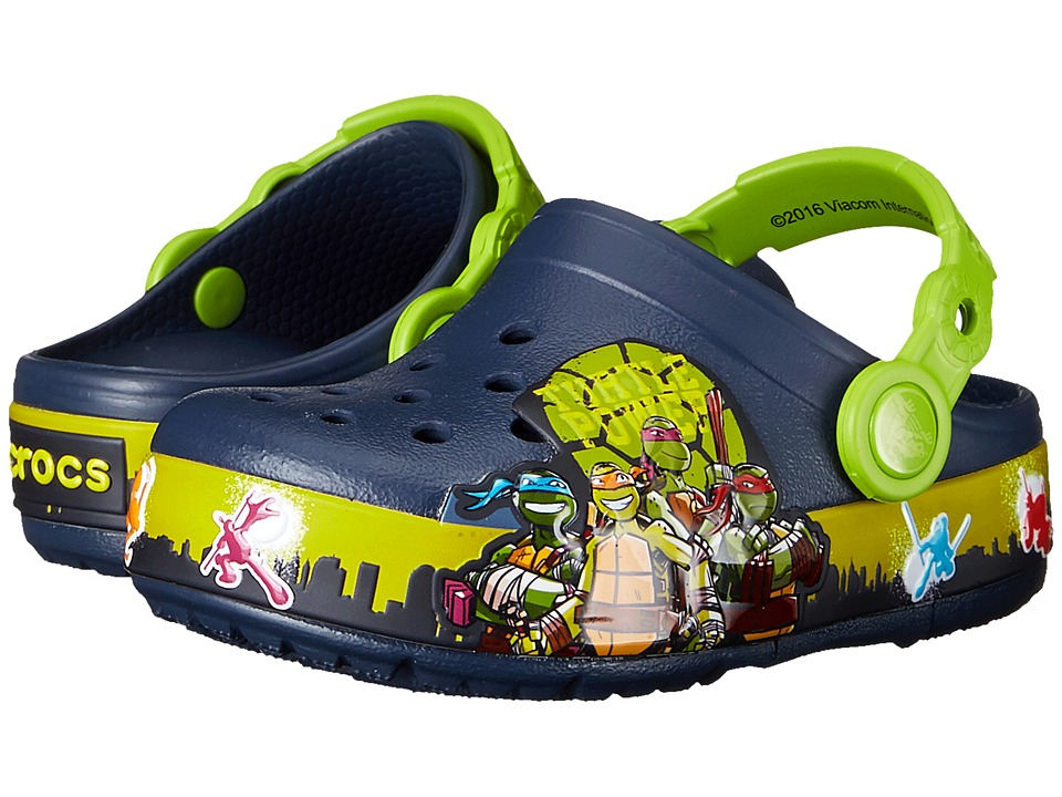 Crocs Kids - CrocsLights TMNT II Clog (Toddler/Little Kid) (Navy/Volt Green) Boys Shoes