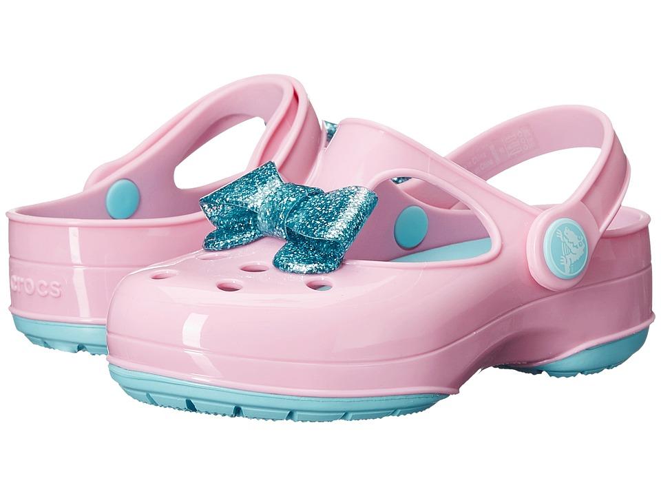 Crocs Kids - Carlie Glitter Bow Clog MJ PS (Toddler/Little Kid) (Carnation/Ice Blue) Girls Shoes