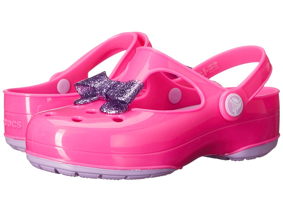 Crocs Kids - Carlie Glitter Bow Clog MJ PS (Toddler/Little Kid) (Neon Magenta/Purple) Girls Shoes