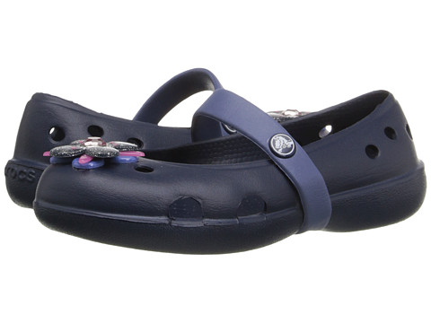 Crocs Kids - Keeley Springtime Flat PS (Toddler/Little Kid) (Navy/Bijou Blue) Girls Shoes