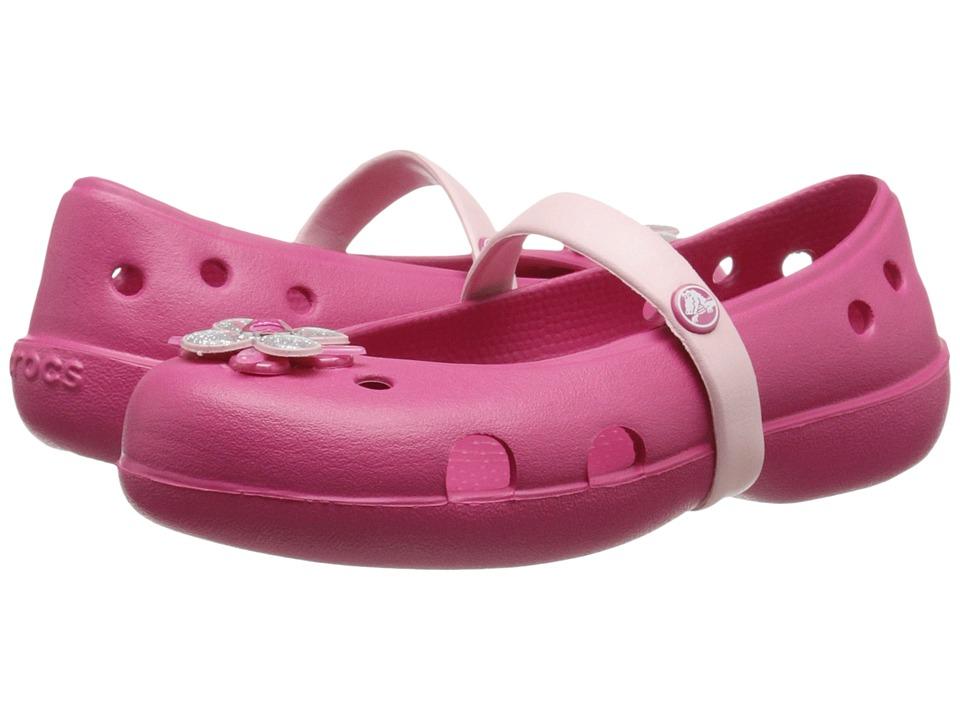 Crocs Kids - Keeley Springtime Flat PS (Toddler/Little Kid) (Raspberry/Petal Pink) Girls Shoes