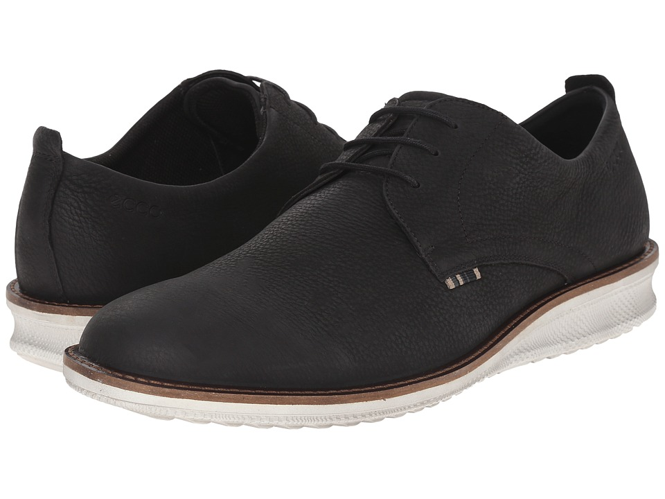 ECCO - Contoured Plain Toe Tie (Black Cow Nubuck) Men's Plain Toe Shoes