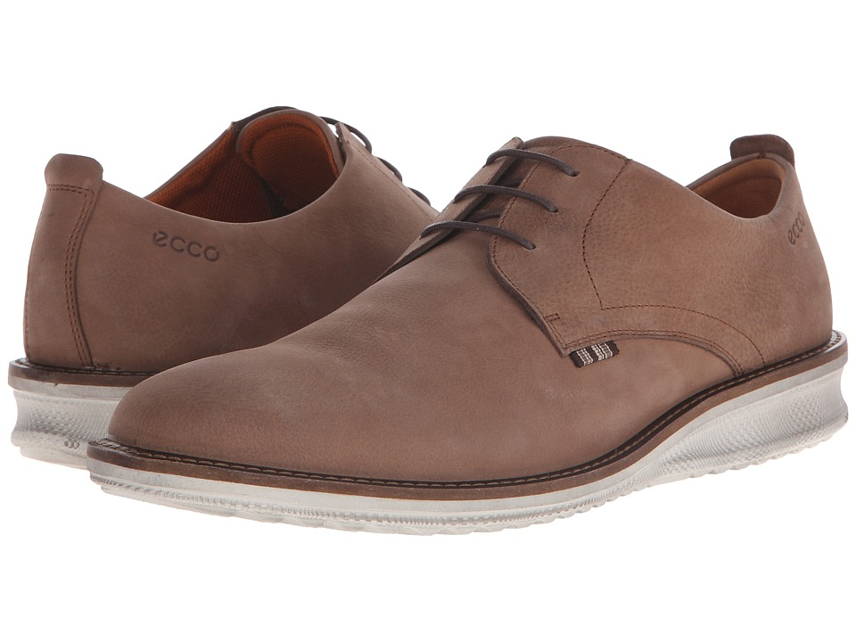 ECCO - Contoured Plain Toe Tie (Cocoa Brown Cow Nubuck) Men's Plain Toe Shoes