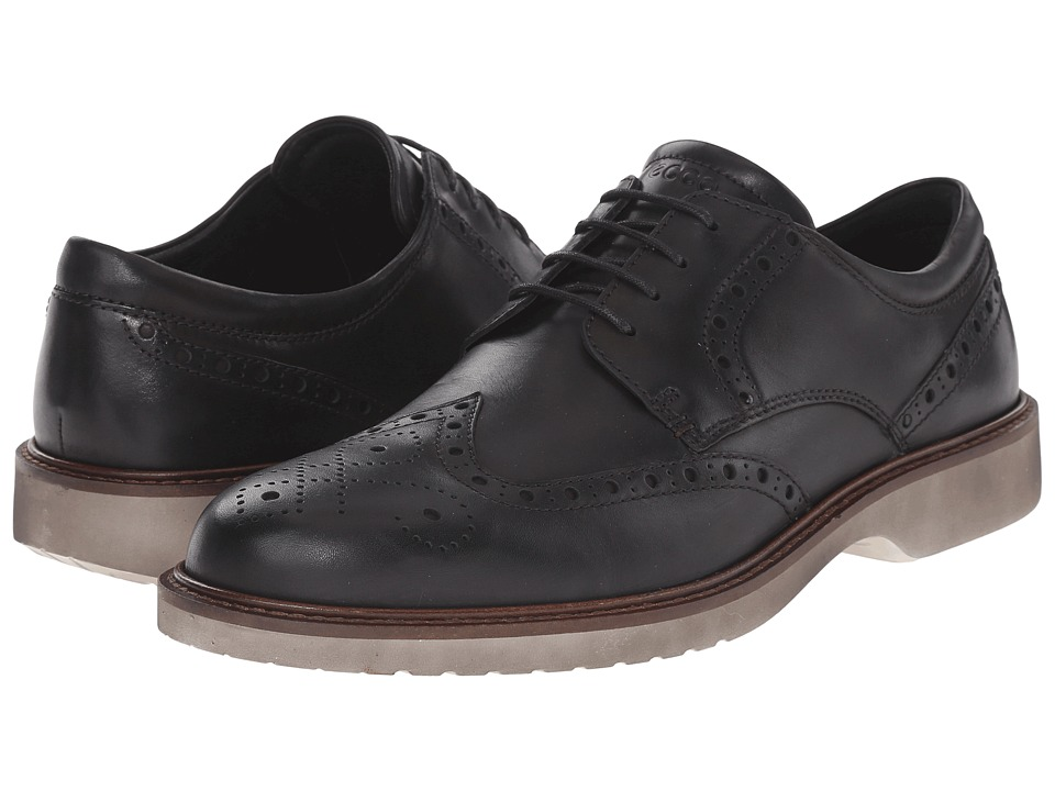 ECCO - Ian Wingtip Tie (Black Cow Leather) Men