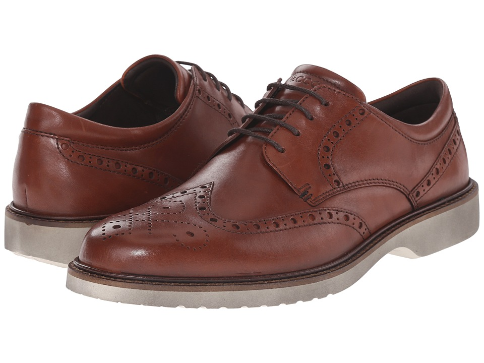 ECCO - Ian Wingtip Tie (Cognac Cow Leather) Men's Lace Up Wing Tip Shoes