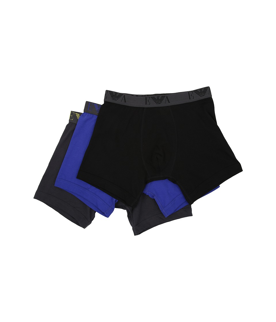 Emporio Armani - 3-Pack Cotton Boxer Brief (Black/Royal Blue/Asphalt) Men