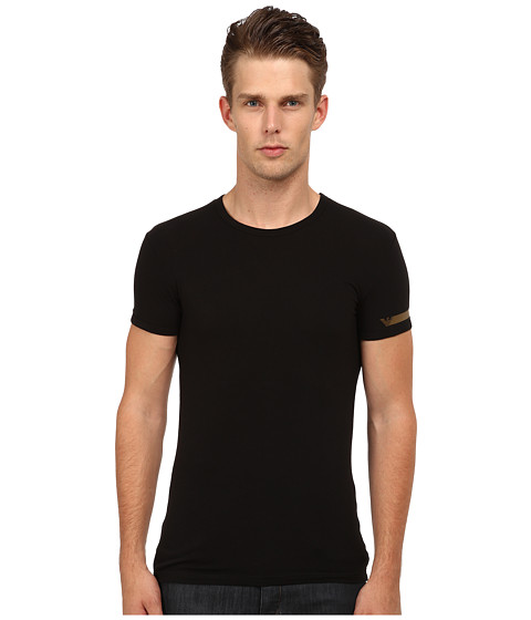 Emporio Armani - Metallic Band Crew Neck T-Shirt (Black/Gold) Men's Underwear