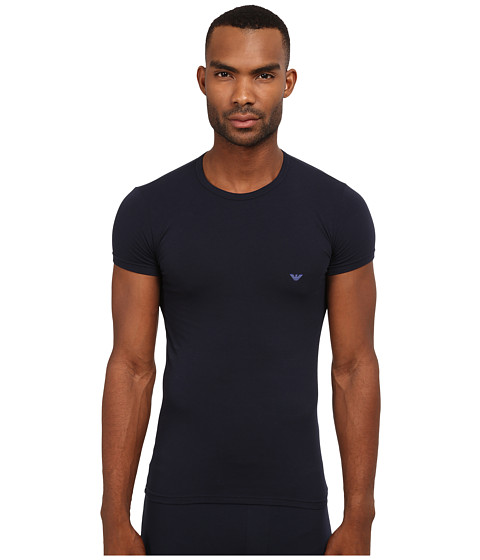 Emporio Armani - Stretch Cotton Crew Neck T-Shirt (Marine) Men's Underwear