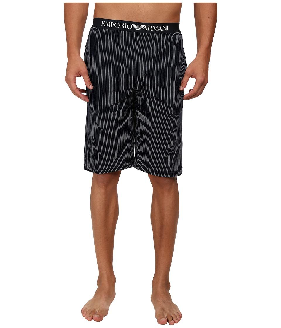 Emporio Armani - Printed Jersey Bermuda Shorts (Marine Pinstripe) Men's Underwear