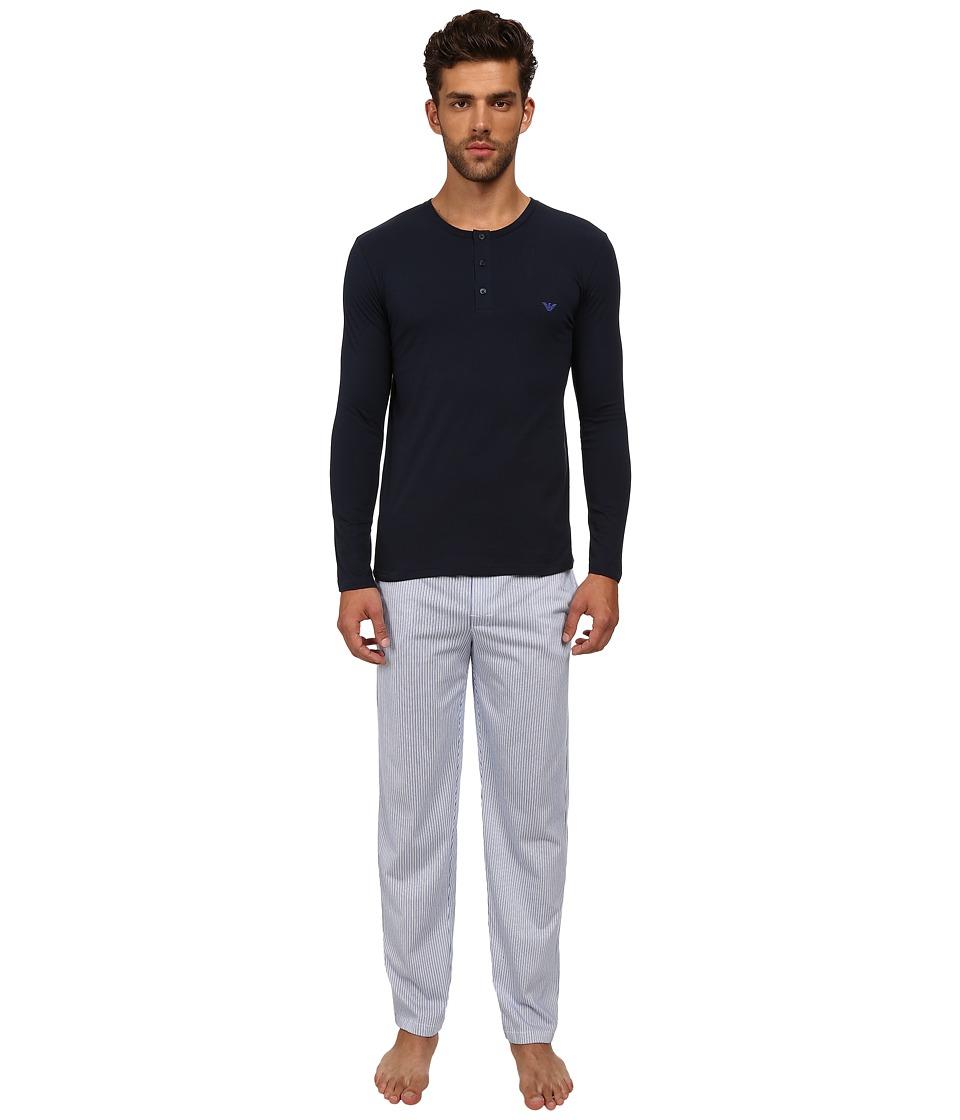 Emporio Armani - Printed Jersey Pajama Set (White/Blue Pinstripe) Men