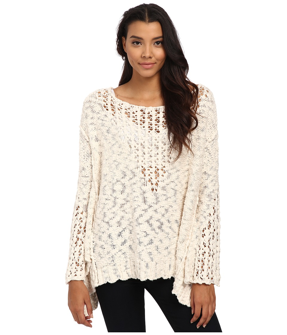 Free People - Pretty Pointelle Vee Sweater (Ivory) Women's Sweater